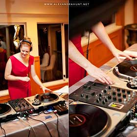 female DJ spinning